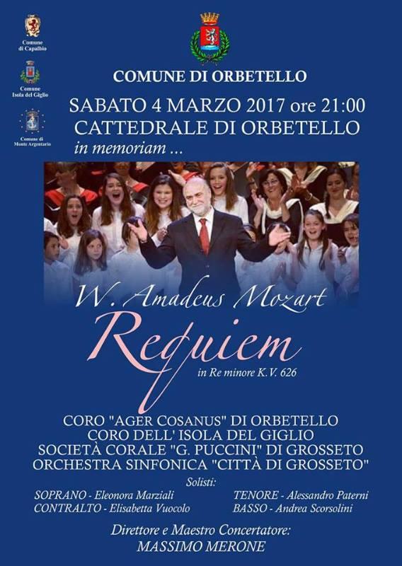 Requiem KV 626 di W. A. Mozart … in memoriam – Duomo di Orbetello, sabato 4 marzo ore 21:00
